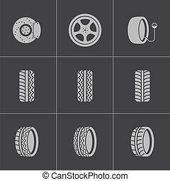 vetorial, jogo, pretas, pneu, ícones