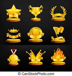 vetorial, jogo, pretas, recompensas, ouro