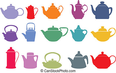 vetorial, jogo, quinze, teapots, coloridos