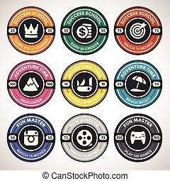 vetorial, jogo, realização, emblemas