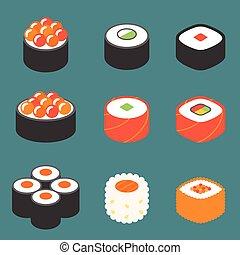 vetorial, jogo, rolo sushi, ícone