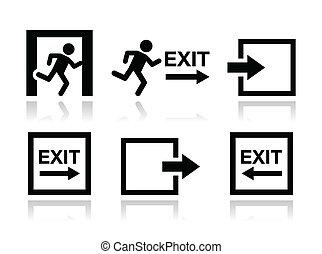 vetorial, jogo, saída, emergência, ícones