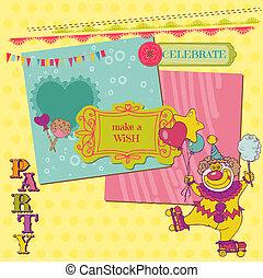 vetorial, jogo, scrapbook, -, aniversário, desenho, criança, partido, elementos
