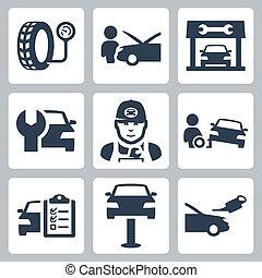 vetorial, jogo, serviço, ícones, estação, veículo
