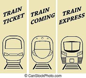 vetorial, jogo, silueta, modernos, ilustração, trem