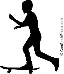 vetorial, jogo, skateboarders, illustration., silhouette.
