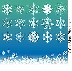 vetorial, jogo, snowflakes