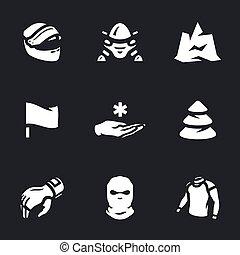 vetorial, jogo, snowmobile, icons.