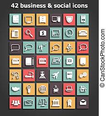 vetorial, jogo, social, ícones negócio