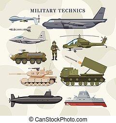 vetorial, jogo, tanque, blindado, exército, técnico, isolado, camuflagem, armoured, submarino, avião, ilustração, fundo, aviação, helicóptero, militar, ou, transporte, technics