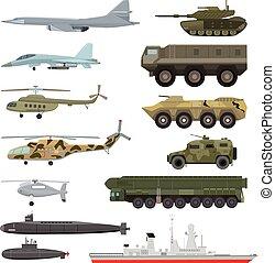 vetorial, jogo, tanque, blindado, exército, técnico, isolado, ilustração, armoured, submarino, avião, technics, fundo, aviação, helicóptero, branca, militar, ou, transporte