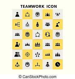 vetorial, jogo, trabalho equipe, ícones