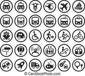 vetorial, jogo, transporte, ícones