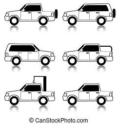 vetorial, jogo, transporte, body., car, ícones, -, carros, symbols., pretas, white., vehicles.