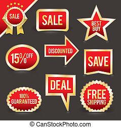 vetorial, jogo, venda, emblemas, foiled