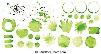vetorial, jogo, verde, esguichos, fundo branco