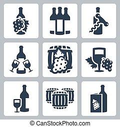 vetorial, jogo, winery, ícones
