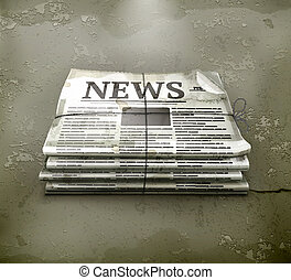 vetorial, jornal, old-style