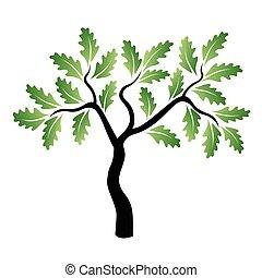 vetorial, jovem, verde, árvore carvalho