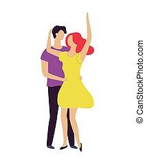 vetorial, junto, dançar, par, caráteres, em movimento