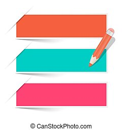 vetorial, lápis, jogo, etiquetas, isolado, papel, fundo, branca, vazio