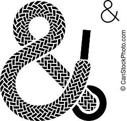 vetorial, laço sapata, ampersand, símbolo