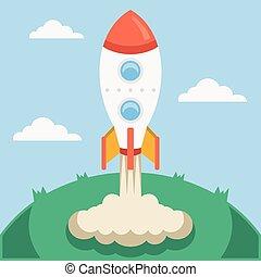 vetorial, lançamento foguete
