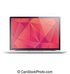 vetorial, laptop, flamejante, modernos, g