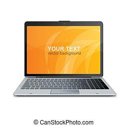 vetorial, laptop, isolado, e, texto