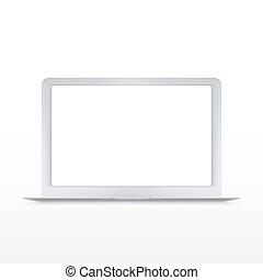vetorial, laptop, modernos, isolado, branca