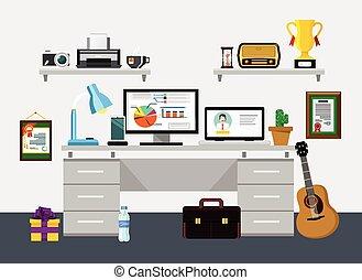 vetorial, lar, local trabalho, ilustração