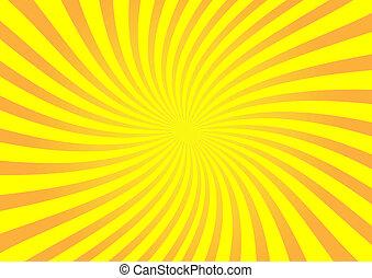 vetorial, laranja, sunburst