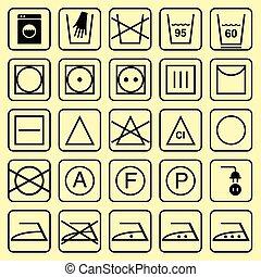 vetorial, lavando, sinais