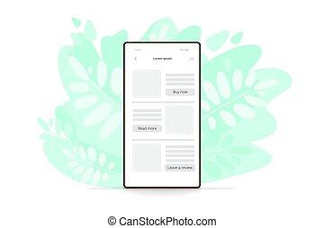 vetorial, leaves., telefone, smartphone, icon., verde, ilustração, apartamento, célula, modernos