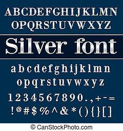 vetorial, letras, fundo, azul, prata, dígitos, revestido, alfabeto