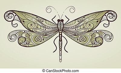 vetorial, libélula, original, padrão