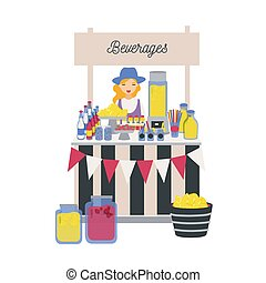 vetorial, limonada, femininas, menina, style., ficar, drinks., agricultores, vendedor, outro, local, apartamento, vender, bebidas, quiosque, ilustração, limões, caricatura, contador, market., refrescar, tenda, macio, ou