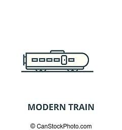 vetorial, linear, conceito, símbolo, modernos, sinal, trem, ícone, linha, esboço