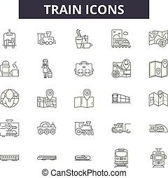 vetorial, linear, jogo, ícones, ilustração, conceito, linha trem, sinais, esboço