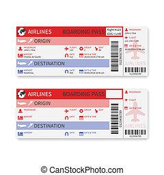 vetorial, linha aérea, cartão embarque, bilhete, isolado,...