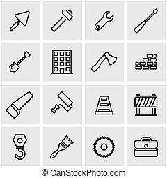 vetorial, linha, jogo construção, ícone