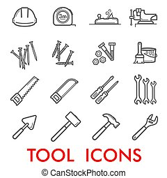 vetorial, linha magra, ícones, de, reparar, trabalho,...