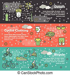 vetorial, linha magra, arte, bicicleta, bandeira, modelo, jogo