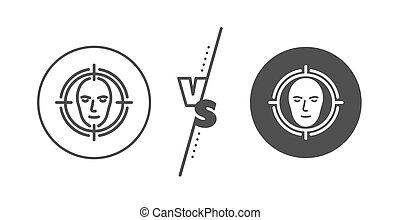 vetorial, linha, sinal., detectar, rosto, reconhecimento, icon., cabeça, alvo
