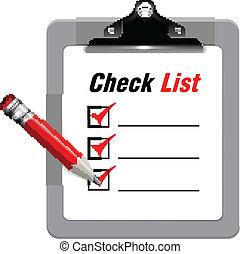 vetorial, lista, cheque, ilustração