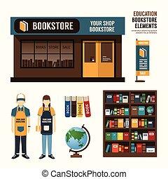 vetorial, livraria, projeto fixo, loja, loja, pacote, t-shirt, boné, uniforme, e, frente, exposição, design/, esquema, jogo, de, identidade incorporada, escarneça, cima, template.