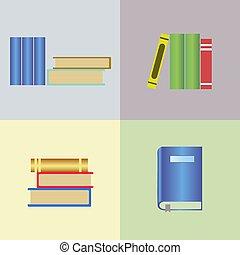 vetorial, livro, ícones, jogo