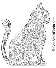 vetorial, livro, coloração, adultos, gato