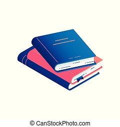 vetorial, livro, isometric, literatura, bookmark., -, ilustração, pilha, hardcover, papel, diário, ou, mentindo