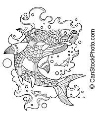 vetorial, livro, tubarão, coloração, adultos
